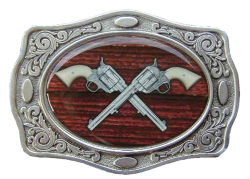 (Crossed Revolvers Buff Shine Border Novelty Belt Buckle)