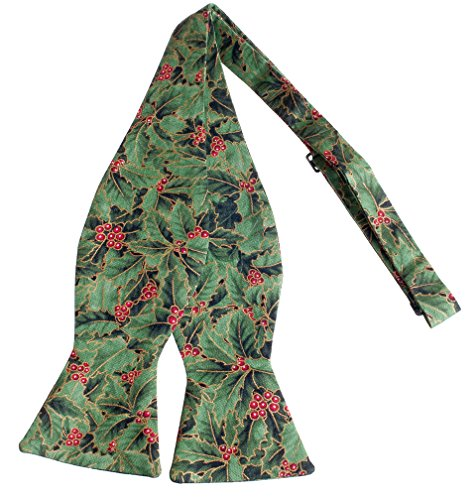 Self-tie Bow Tie Christmas Holly in Green & Red Crafted in the USA (Mens)