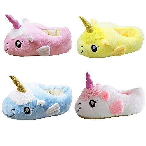 JYSPORT Einhorn Hausschuhe Damen Plüsch Kuschelige Pantoffeln Slip On Slippers Unicorn Home Pantoffeln für Erwachsene Europäische Größen 39-42 Pink