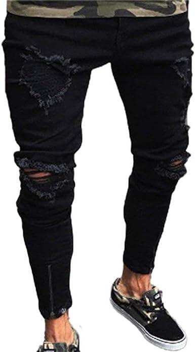 Jeans De Los Hombres Skinny Hebilla Elastica Slim Fit Biker Rasgado Pantalones De Mezclilla Jeans Negro Amazon Es Ropa Y Accesorios