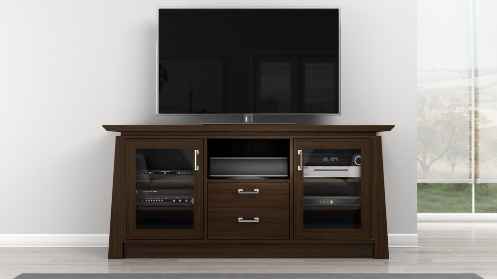 Furnitech 70 inch Contemporary Asian Console with Tapered Legs. Chocolate Cherry Finish