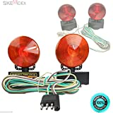 SKEMiDEX--- 12V Magnetic Towing Amber/ Red Lights Kit Trailer RV Boat Dolly Brake Lights Ideal For Towing Application 80'' Wide Double-Sided ,Red And Amber Lights