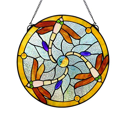 Yogoart 16 Inch Vintage Tiffany Style Round Stained Glass Art Dragonfly Window Panel Wall Hanging