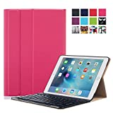 iPad Pro 9.7 Keyboard Case, Walle Shop® Slim Folio Flip Leather Keyboard Stand Protective Case with Smart Cover Auto Wake / Sleep for Apple iPad Pro 9.7 inch tablet (2016) (rose red)