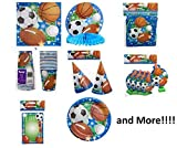 All Sports Birthday Party Supplies Kit Decoration for 16 Childs (Basket Ball, Furball Soccer, Baseball) by Greenbrier