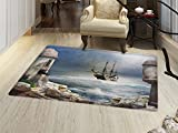 Sailboat Door Mats Area Rug A Pirate Merchant Ship Anchored in the Bay of Fort Abandoned Rocks at Shore Floor mat Bath Mat for tub Pale Muave Beige