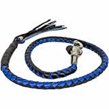 BIKER BLACK & BLUE 40'' PURE LEATHER GET BACK WHIP MOTORCYCLE WHIP OLD SCHOOL NEW
