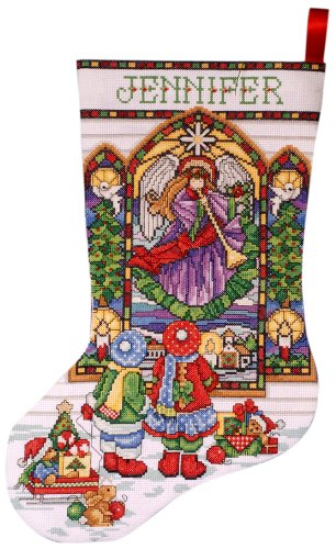 Tobin DW5961 14 Count Stained Glass Stocking Counted Cross Stitch Kit, 17-Inch Long ()