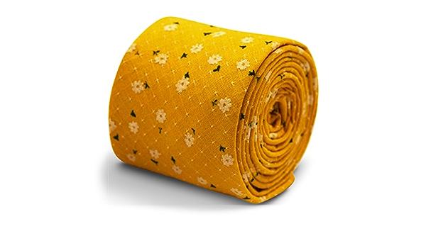 Frederick Thomas Designer yellow gold mustard mens cotton tie /& dark blue floral