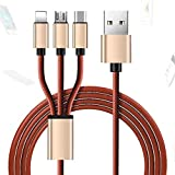NOMSOCR Multi USB Cable, 3-in-1 Leather Lightning to USB Cable Type C Sync Fast Charging Cord for iPhone, iPad Mini/Pro/Air, Samsung, Moto, BlackBerry, Nokia, LG, Google, HTC (Gold)