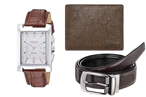 Laurels White Men's Wallet With Watch & Belt- Combo Pack (CP