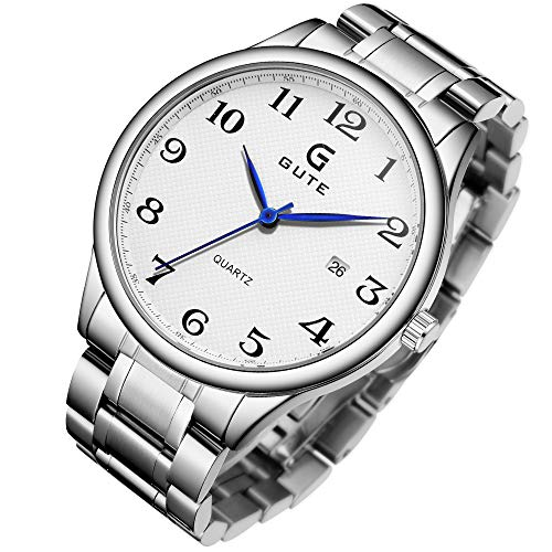 Mens Watch,Stone Luxury Classic Stainless Steel Bracelet Easy Reader Analog Quartz Wrist Watch with Calendar White Dial Analog Stainless Steel Bracelet