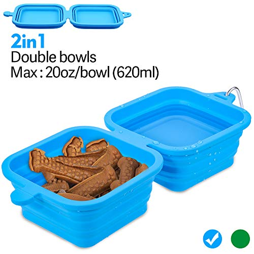 Domipet Collapsible Dog Bowl Large Pet Travel Bowl Foldable Expandable Cup Dish for Pet Dog Cat with Free Aluminum Carabiner, Food Grade Silicone BPA Free Food Water Feeding Bowl (Blue) ()