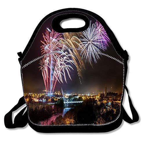 Strabane Halloween Fireworks Display 2017 Lunch Tote Bag Reusable Neoprene Cooler Portable Lunchbox Handbag for Men Women Adult Kids Boys Girls