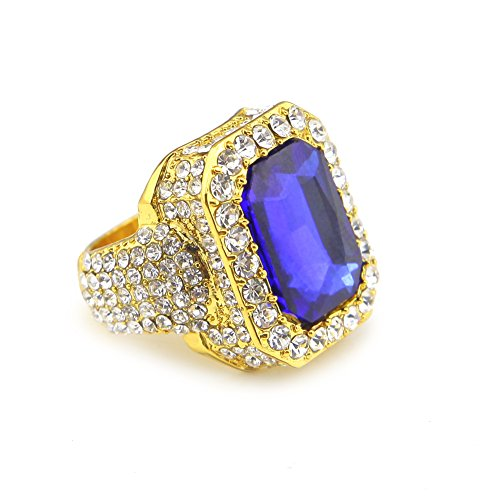 HongBoom Hot Hip Hop Rings 18K Gold Silver Plated CZ CRYSTAL Fully Iced-Out CUBAN Blue Ruby Ring (Gold/US Size 11) ()