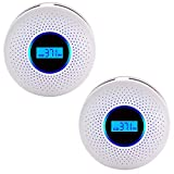 Carbon Monoxide Gas Detection,CO Detector Alarm LCD Portable Security Gas CO Monitor,Alarm Clock Warning and Digital Display (2 Packs)