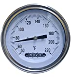 1/2 NPT Threaded Stainless Steel Thermometer for a Moonshine Still Condenser or Brew Pot