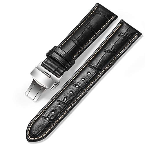 (iStrap 22mm Alligator Grain Cow Leather Watch Band Strap W/Butterfly Deployment Buckle Black 22)
