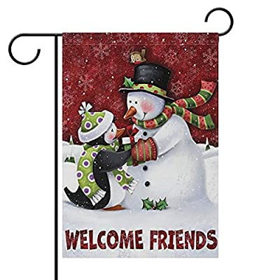 "Welcome Friends Christmas Snowman Penguin Double Sided Garden Yard Flag 12"" x 18"", Welcome Winter Snowflake Birds Decorative Garden Flag Banner for Outdoor Home Decor Party"