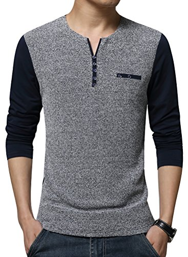 QZUnique Men's Spring Plus Fashion Slim Fit Long Sleeve Casual T-Shirt Navy Blue US L