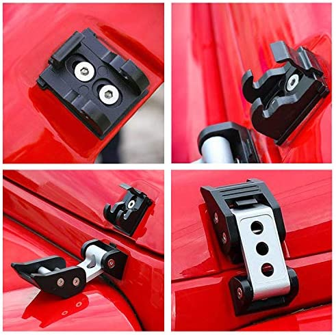 YOUAN Aluminum Latch Locking Hood Catch Kit 2007-2018 Jeep Wrangler JK JKU Silver