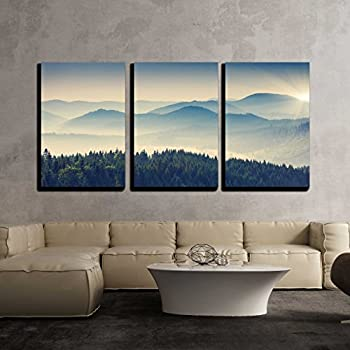 wall26 - 3 Piece Canvas Wall Art - Beautiful Sunny Day is in Mountain Landscape. Carpathian, Ukraine, Europe. - Modern Home Decor Stretched and Framed Ready to Hang - 16