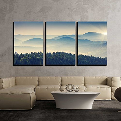 wall26  3 Piece Canvas Wall Art  Beautiful Sunny Day is in Mountain Landscape Carpathian Ukraine Europe  Modern Home Decor Stretched and Framed Ready to Hang  16quotx24quotx3 Panels