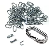 95 Oval X2 Power Rings 50% Stronger Than Round Split Rings Zinc Plated Connectors for Key Rings, Lur