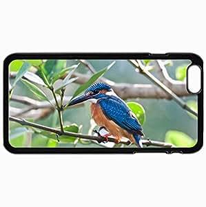 Fashion Unique Design Protective Cellphone Back Cover Case For iPhone 6 Plus Case Bird Kingfisher Branch Black