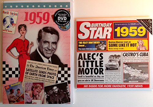 - 1959 Birthday Gifts Pack - 1959 DVD Film , 1959 Chart Hits CD and 1959 Birthday Card