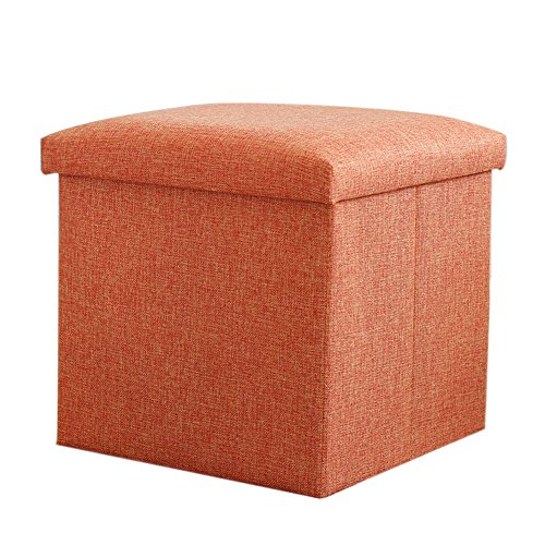 Salutto Cube Polyester Foldable Storage Ottoman Foot Rest Stool Seat Orange