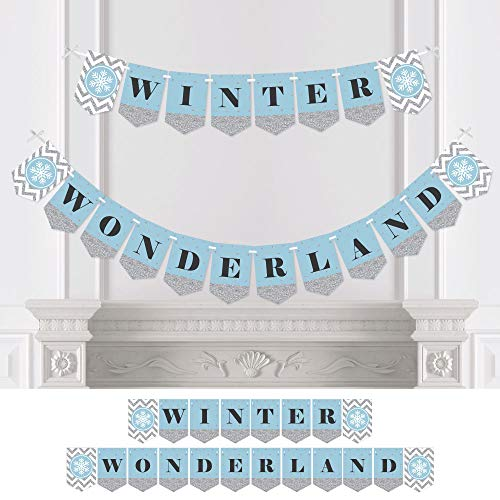 Big Dot of Happiness Winter Wonderland - Snowflake Holiday Party & Winter Wedding Bunting Banner - Snowflake Party Decorations - Winter Wonderland