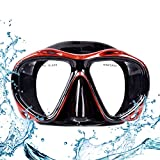 Top studio Diving Mask, HD Scuba Adult Dive Mask with Anti Fog Tempered Glass Snorkel Mask, Diving Glasses for Dry Snorkeling Diving Swimming Provides Crystal Clear Wide View(Black + red)