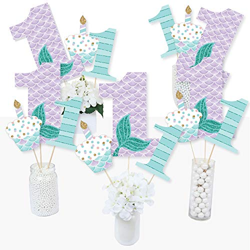 1st Birthday Let's Be Mermaids - First Birthday Party Centerpiece Sticks - Table Toppers - Set of 15]()