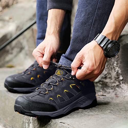 Rutschfeste Schuhe Dunkelgrau Wasserabweisende mit Sohle Trekking und Herren amp; Wanderschuhe TFO gelb Outdoor Damen Atmungsaktive wTUCFqPxPn