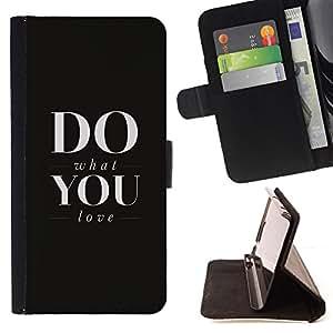 BullDog Case - FOR/Apple Iphone 6 / - / DO WHAT YOU LOVE /- Monedero de cuero de la PU Llevar cubierta de la caja con el ID Credit Card Slots Flip funda de cuer