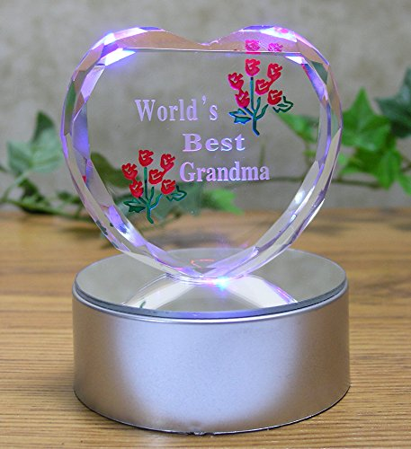 Light up LED Heart for Grandma - World's Best Grandma - Etch