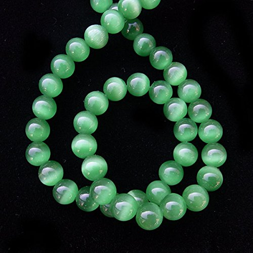 TheTasteJewelry 12mm Round Dark Green Cat Eye Beads 15 inches 38cm Jewelry Making Necklace (Green 12mm Round Bead)