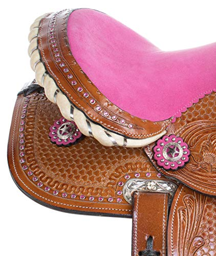 AceRugs 10 12 13 Pink Crystal Premium Leather Western Pleasure Trail Show  Youth Kids Barrel Racing Pony Horse Saddle TACK Set (13)