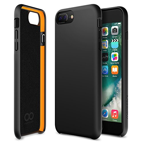 iPhone 8 Plus Case, iPhone 7 Plus Case, Maxboost [SnapPro Series] Apple iPhone 8/7/6s/6 Plus Cover with Gel Cushion [Matte Black] Premium Shock-Absorption Protection Frame Enhanced Soft Touch Coating (Jet Black Matte)
