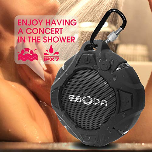 EBODA Shower Speaker, Portable Bluetooth Speakers with 8H Palytime, Waterproof Bluetooth Speaker IPX7 With Sturdy Hook, 5W Loud HD Sound, Built-in Mic, Hands-Free for Shower, Pool, Beach, Hiking-Black (Waterproof Bluetooth Speaker Swimming Pool Shower Beach)