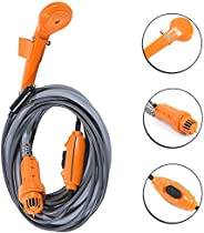 Portable Camping Shower,iDeep Outdoor Shower with 12v Adapter Car Charger Includes Water Pump Shower Head On/O