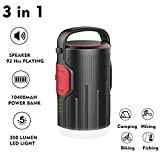 LED Camping Light Speaker Lantern,ASDOMO Multi-Function Speaker Lantern Bluetooth 4.2 10400mAh Power Bank Battery For Emergency, Hurricane, Storm, Outage,Hiking