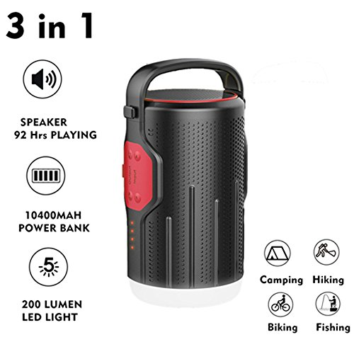 LED Camping Light Speaker Lantern,ASDOMO Multi-Function Speaker Lantern Bluetooth 4.2 10400mAh Power Bank Battery For Emergency, Hurricane, Storm, Outage,Hiking by Asdomo