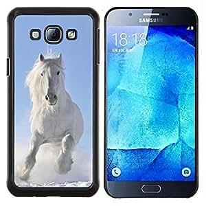 EJOOY---Cubierta de la caja de protección para la piel dura ** Samsung Galaxy A8 A8000 ** --Majestic blanca del caballo del invierno