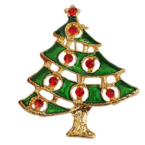 Shiny Bright Color Xmas Themed Crystal Rhinestone Tree Brooch Pin Jewelry Gift | Item - #12