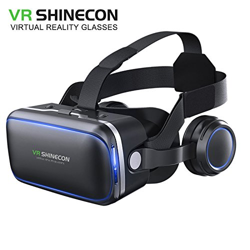 Original VR shinecon 6.0 VR headset version virtual reality glasses Stereo headphones 3D glasses headset helmets Support 4.7-6.0 inch large screen smartphone Authentic authorization (G04E-stand-alone) (3d Stereo Glasses)