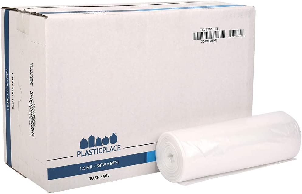 "Plasticplace 55-60 gallon Trash Bags │ 1.5 Mil │ Clear Heavy Duty Garbage Can Liners │Rolls │ 38"" x 58"" (100Count)"