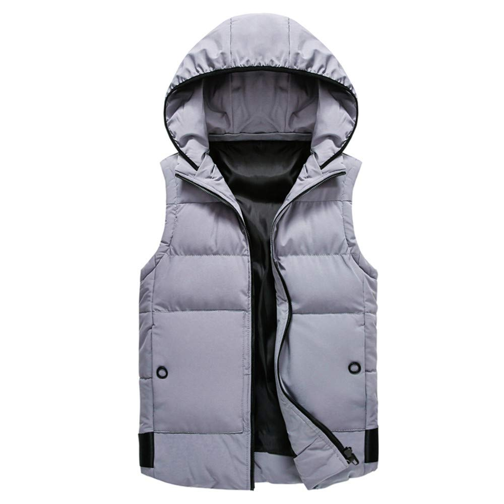 FANOUD Men's Coat Padded Cotton Vest Warm Hooded Thick Vest Jacket