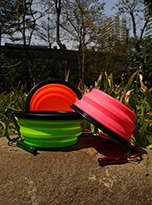 Cafford Collapsible Travel Dog Bowl for Food & Water With Clips & Whistles 3 PCS/ Set